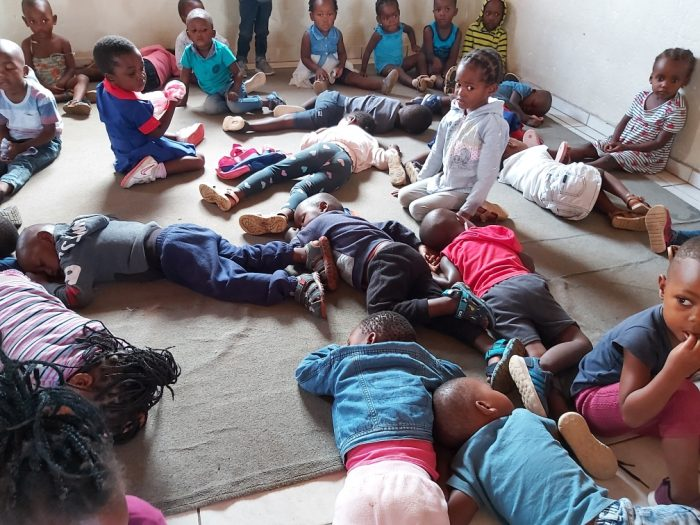 Children sleep on floors